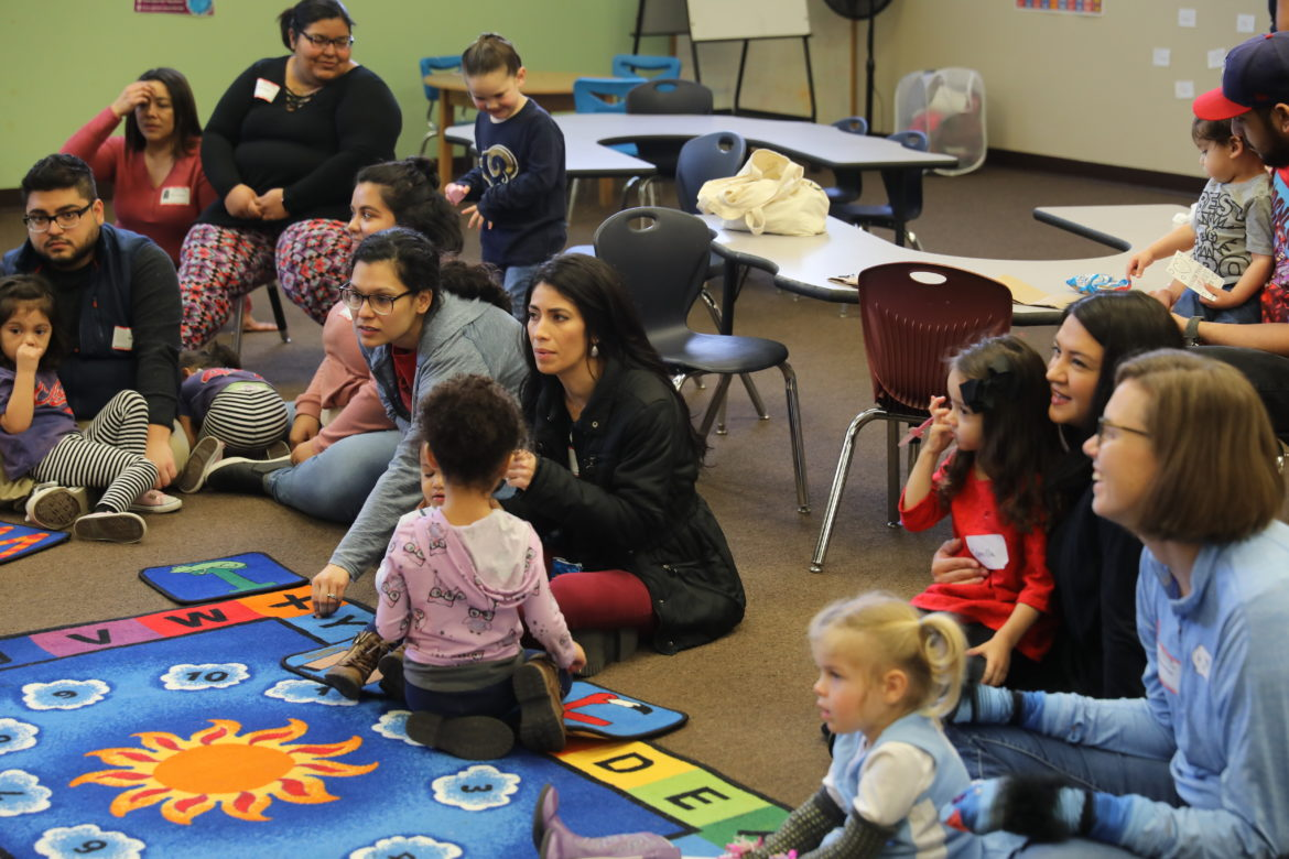 Parents and children participate in the Learning Neighborhood pilot program hosted by KLRN and PBS.