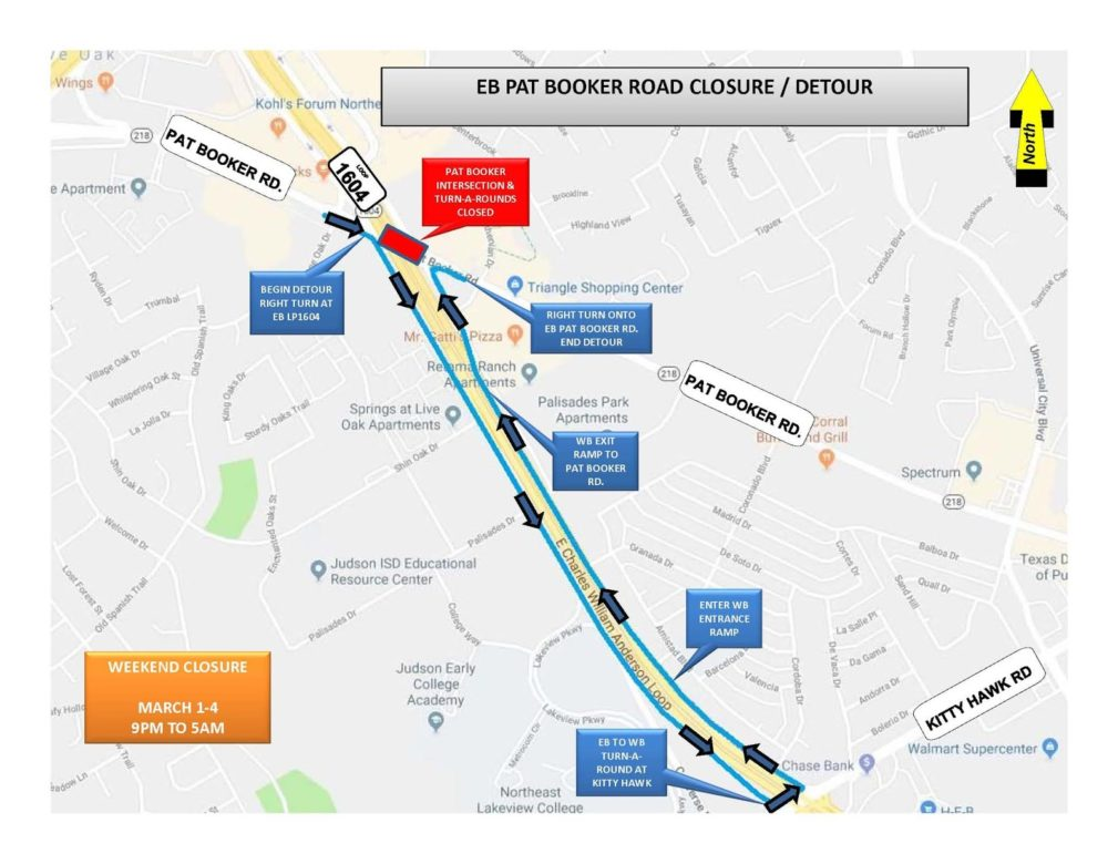 Loop 1604 and Pat Booker Rd Detours for March 1 - 4.