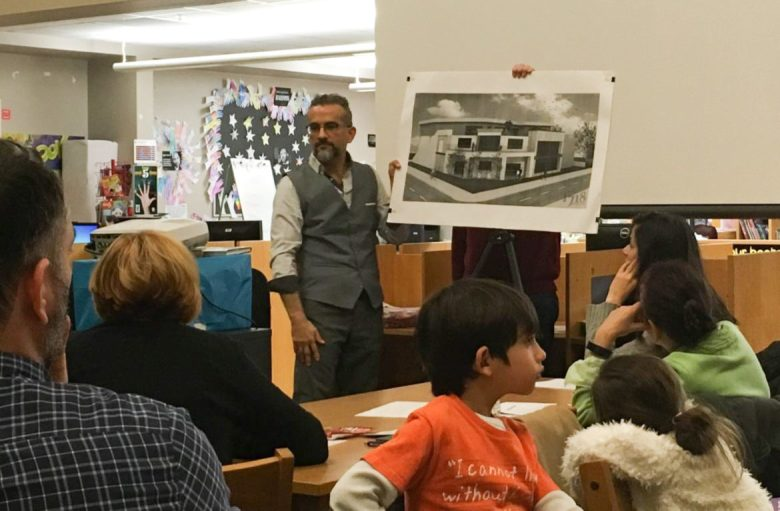 At a meeting of the Alta Vista Neighborhood Association, architect Marcello Martinez presented a design concept for a proposed expansion of The Public Theatre San Antonio.