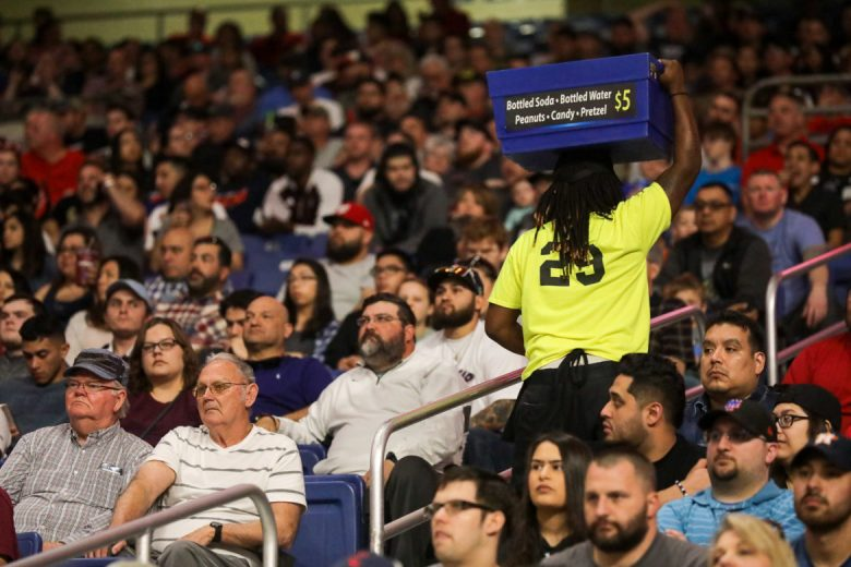 Large containers of beer for sale were walked throughout the crowd allowing fans to grab a drink without leaving their seat.