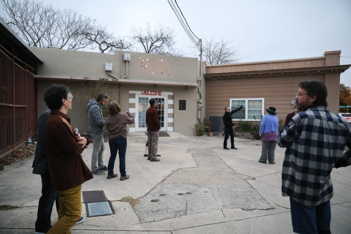 Members of the Alta Vista Neighborhood Association tour the site slated for The Public Theater of San Antonio's expansion.