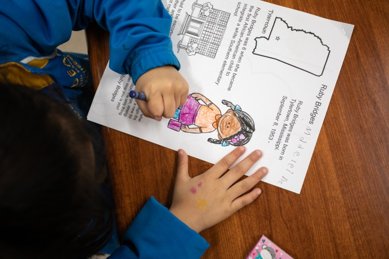 IDEA Ingram Hills first graders color a picture of Ruby Bridges during Black History Month.