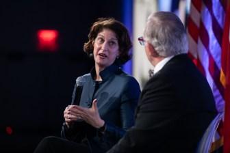 Keynote speaker Mara Liasson (left) speaks with moderator Robert Rivard.