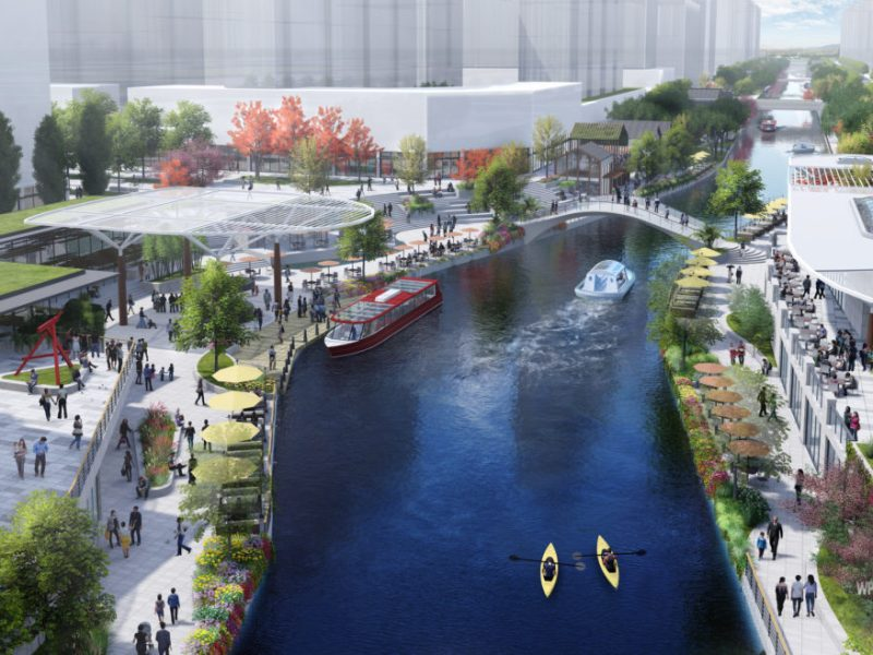 This rendering shows a portion of the 7 mile water loop being designed by Overland Partners in Nanjing, China.