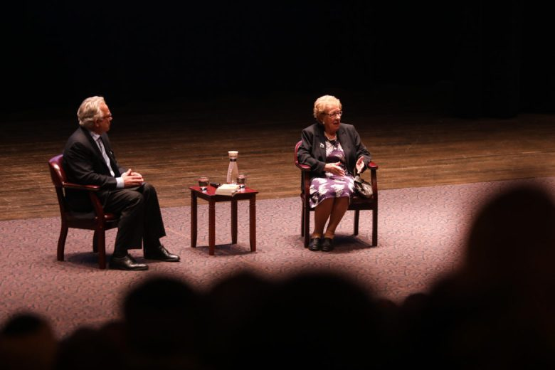 (From left) Moderator Robert Rivard and Eva Schloss have a discussion about Schloss's experience during the Holocaust.