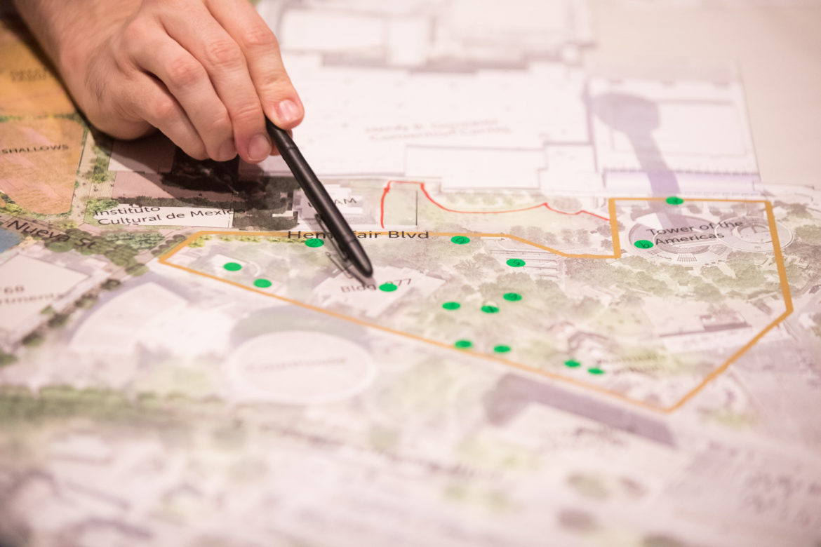 The public helps create the vision for Tower Park by visually mapping out possibilities.