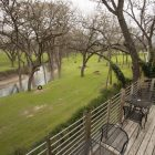 A view out the balcony of the Meyer Bed & Breakfast.