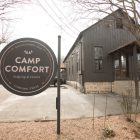 A sign welcomes guests of Camp Comfort.