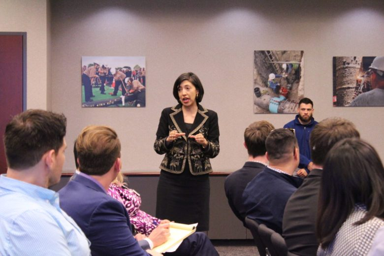 Councilwoman Ana Sandoval (D7) speaks to members of local chambers of commerce about the City's climate plan.