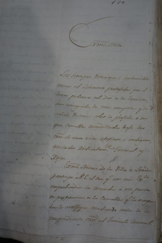 The first page of Joaquín de Arredondo Post-Action Report of the Battle of Medina.