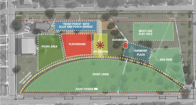 A proposed plan of the near Eastside park includes a splash pad and a dog park.
