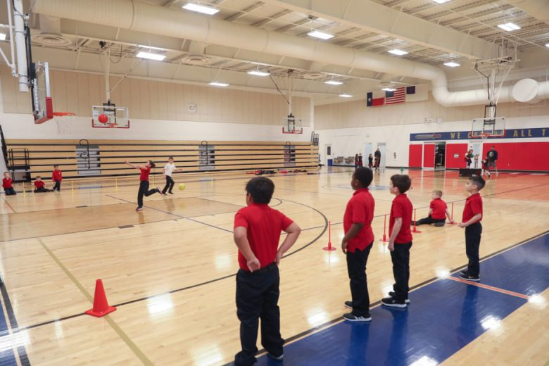 The school features two full sized basketball courts.