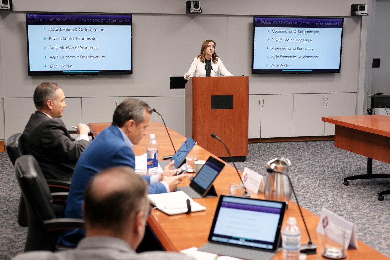 San Antonio Economic Development Foundation President and CEO Jenna Saucedo-Herrera speaks to the Economic and Workforce Development Committee.