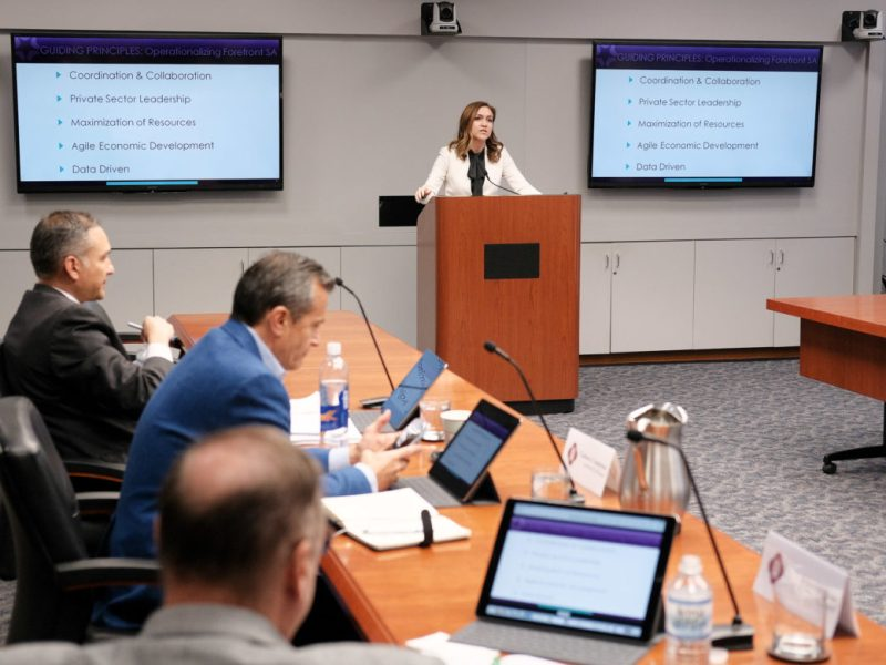 San Antonio Economic Development Foundation President and CEO Jenna Saucedo-Herrera speaks to the Economic and Workforce Development Committee.