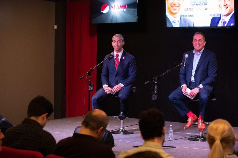 Mayor Ron Nirenberg and Councilman Greg Brockhouse address city leadership topics during the first formal debate at KTSA.