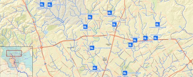 Dams operated by SARA in the Salado Creek Watershed.
