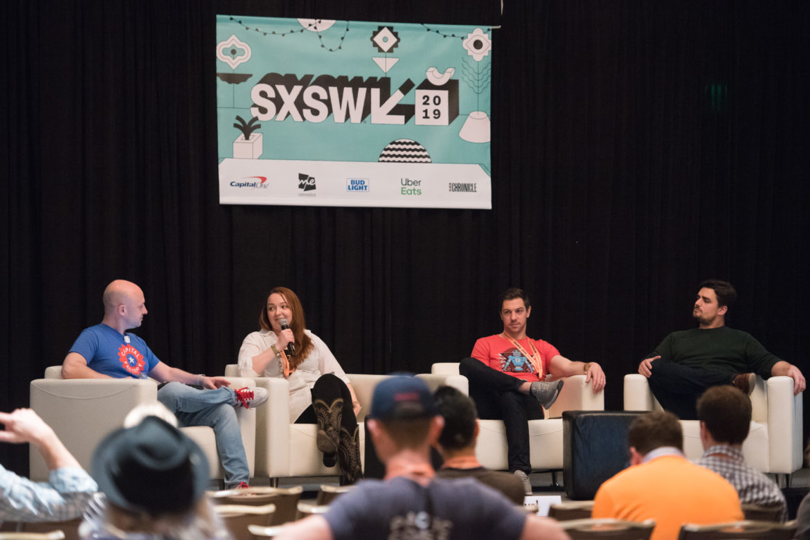 Left to right, Joshua Baer, founder and CEO of the Austin coworking space Capital Factory, leads a panel on Texas startups with Cindy Revol, Principal of Perot Jain, a Dallas-based venture capital firm, Bryan Chambers of Capital Factory and Lawson Gow, Founder and CEO of The Cannon, a coworking space in Houston.