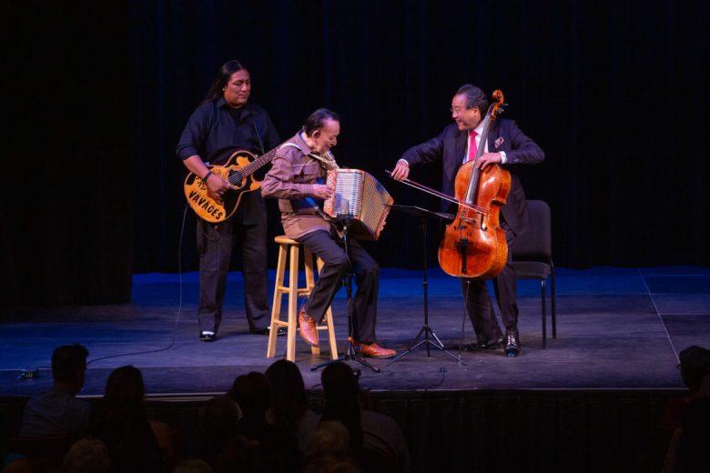 "Flaco Jimenez (center) performs ""Las Golondrinas"" with Yo-Yo Ma (right)."