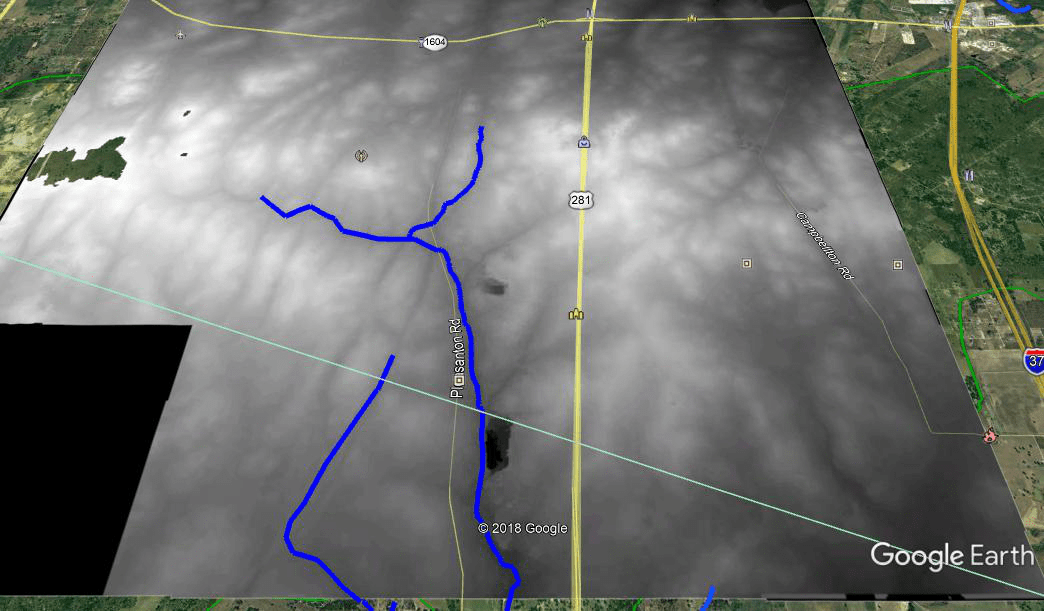 LIDAR imagery of the Encinal de Medina without roads marked.