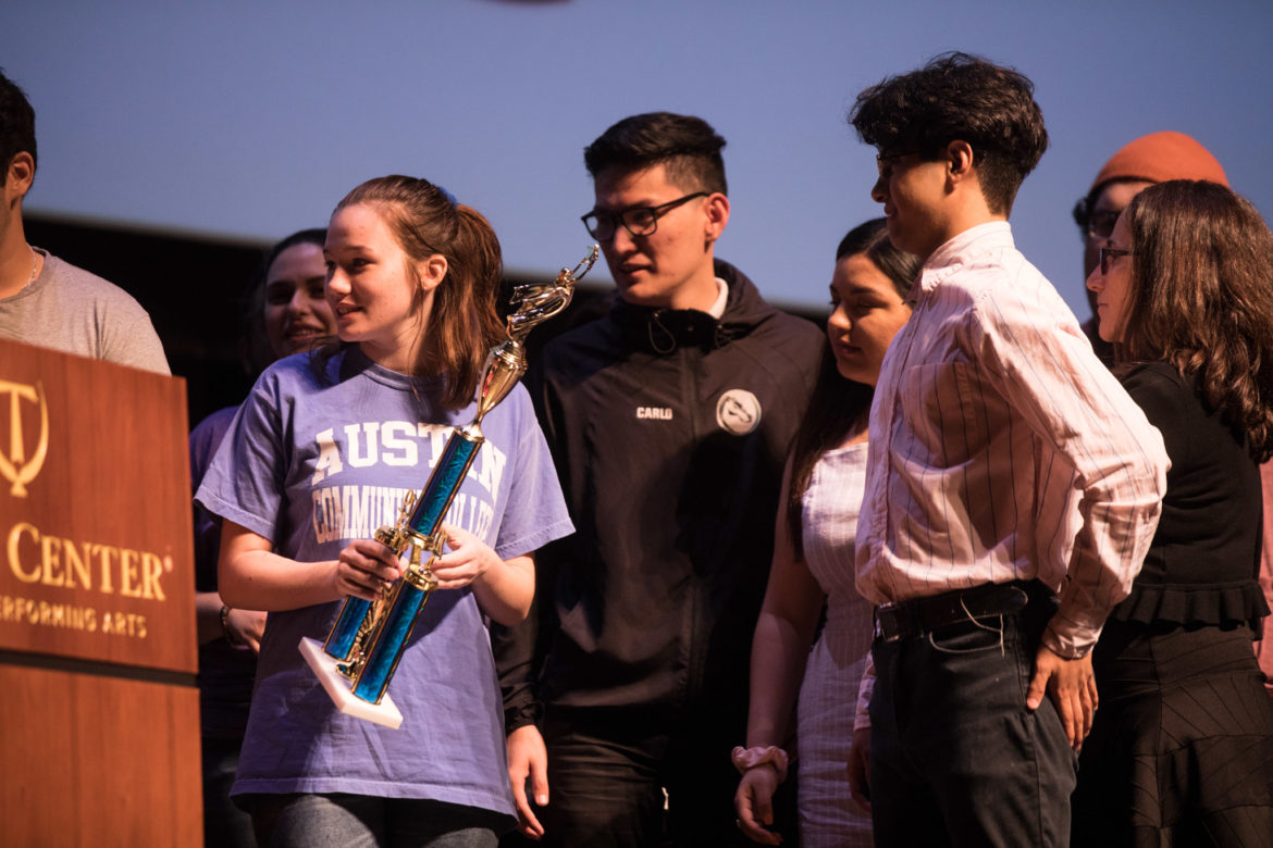 Students from SAY Sí receive the award for Best Cinematography.