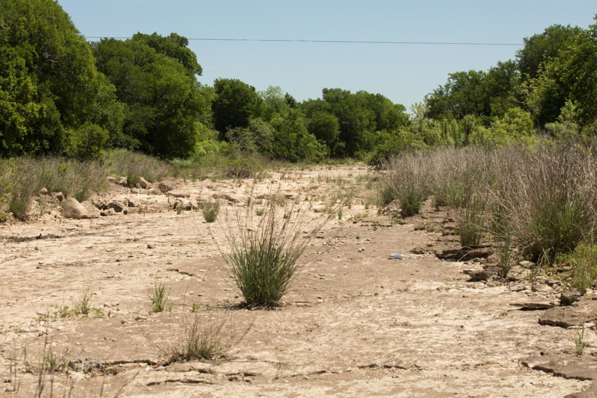 Cibilo Creek in Bulverde, Texas, is mostly dry a few days after a rainfall.