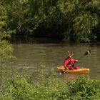 A man dressed as El Chapulín Colorado, or Captain Hopper, rows his kayak during the river parade.