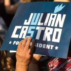 A sign in support of Julián Castro for President is held up during the rally.