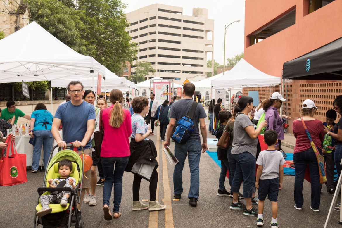 Festival-goers browse the tents at the 7th annual San Antonio Book Festival.