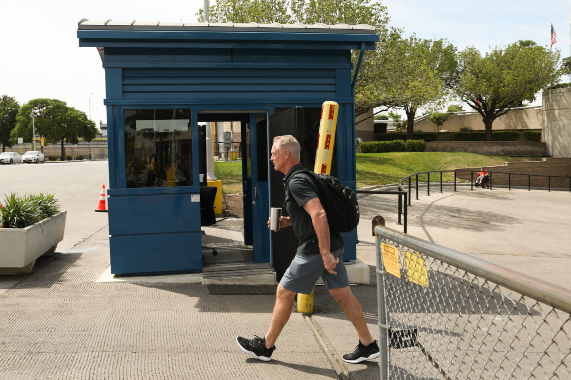 Former SA Commanders General Manager Daryl Johnston leaves the Alamodome.