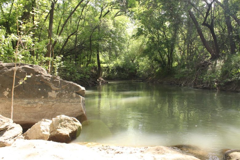 The Medina River flows through the Land Heritage Institute.