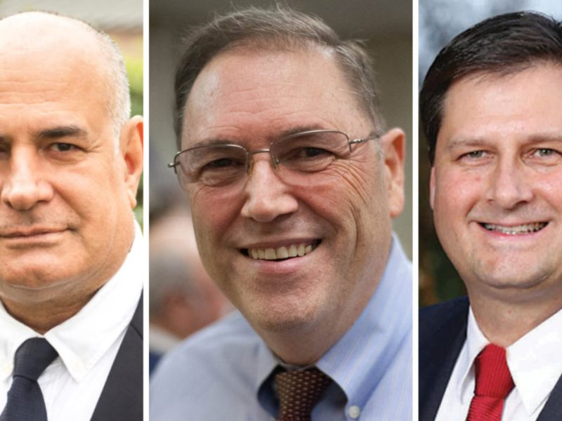 (from left) Richard Reza Versace, Councilman John Courage, and Patrick Von Dohlen all seek the District 9 council seat in the upcoming May elections.