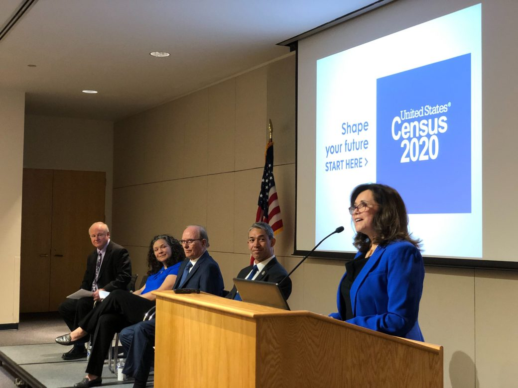 Complete Count Committee Co-Chair Rebecca Cedillo speaks at a Monday press conference.