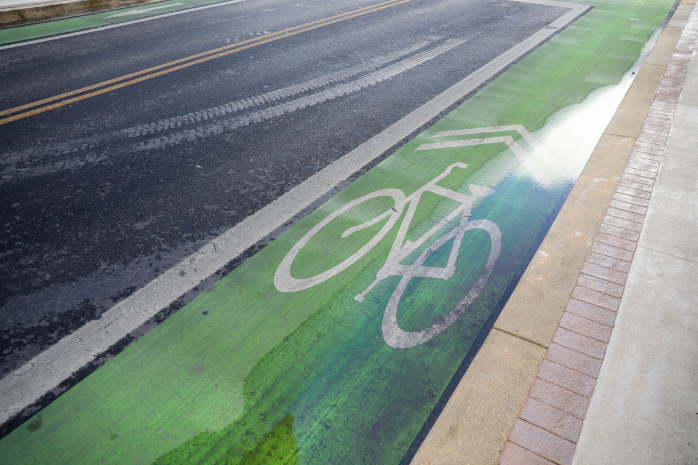 Green bicycle lanes along Main Street downtown.