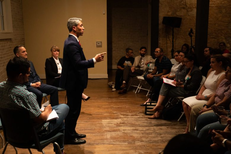 Mayor Ron Nirenberg addresses the audience during the debate.