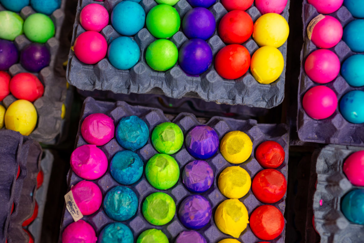 Colorful cascarones made from real chicken eggs are packaged and ready to sell.