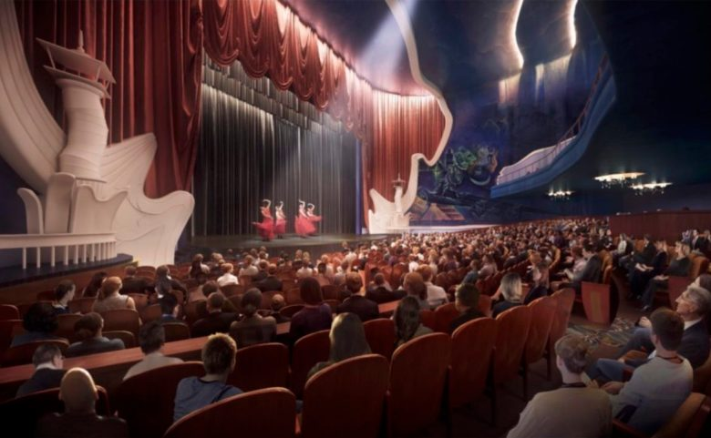 A conceptual rendering of new seating and a restored stage area inside the Alameda Theater.