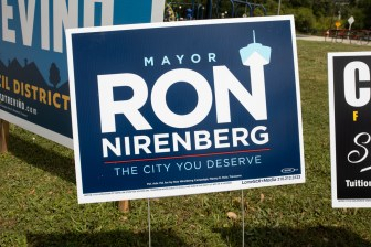 The campaign poster for Mayor Ron Nirenberg.