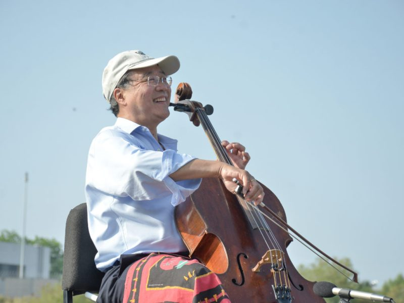 Renowned cellist Yo-Yo Ma perfoms at the Three Laredo Park during the Day of Action Bach on the Border.