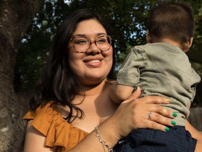 Daritza Michelle Coronel and her son Eric Fusebio Castillo, 17 mo.
