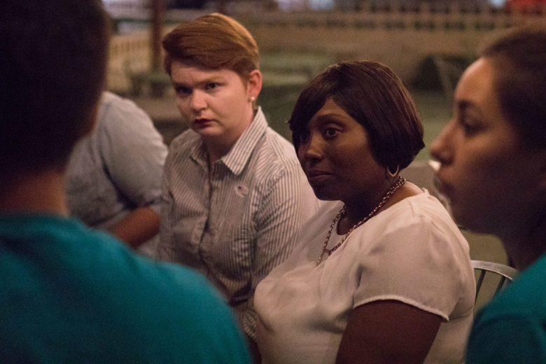 Jada Andrews-Sullivan debriefs with her campaign staff.