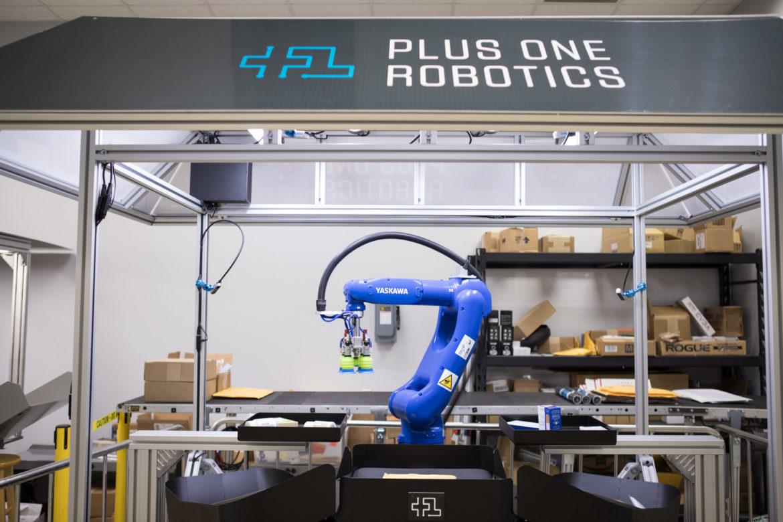 A robot on display at Plus One Robotics.