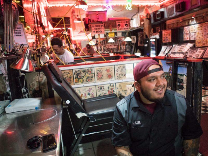 Raul Ortiz recounts his history with Voodoo Tattoos before his client walks in the door.