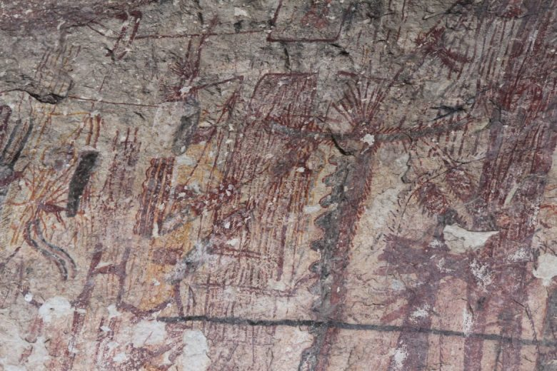 Some figures on the wall at Panther Cave look neither animal nor human.