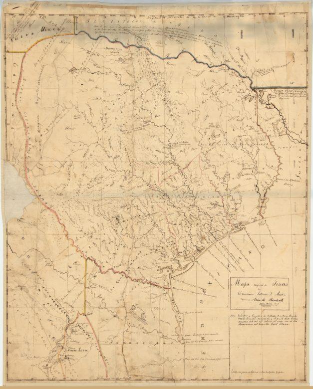 """1829 Stephen F. Austin Map (""""Encinal,"""" """"Derrota de los Republicans por Arredondo en 1813"""")"""