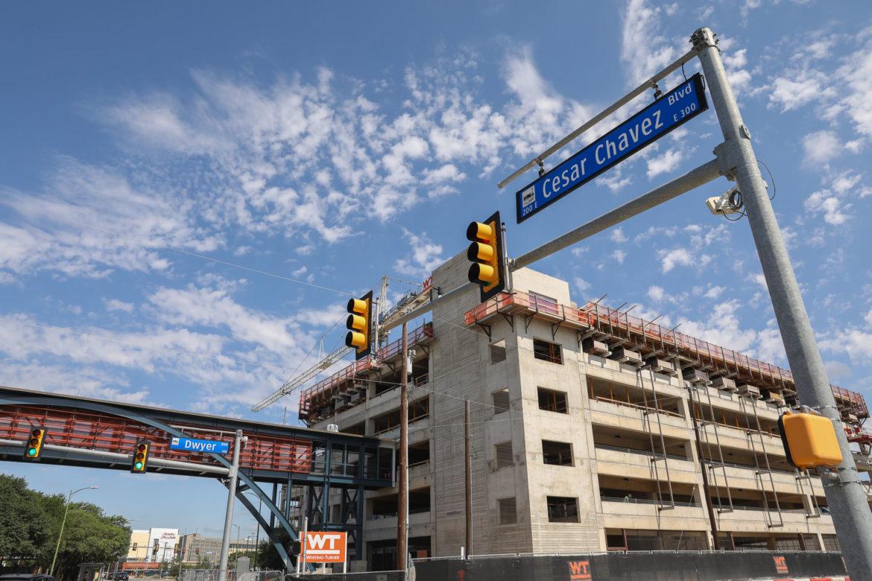 The H-E-B pedestrian bridge will cross Cesar Chavez Blvd and includes a parking garage for H-E-B employees.