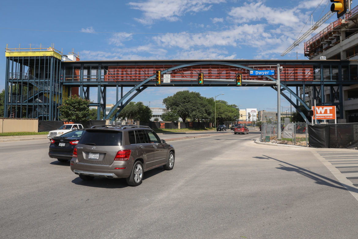 The H-E-B pedestrian bridge will cross Cesar Chavez Blvd and includes a parking garage for H-E-B employees.
