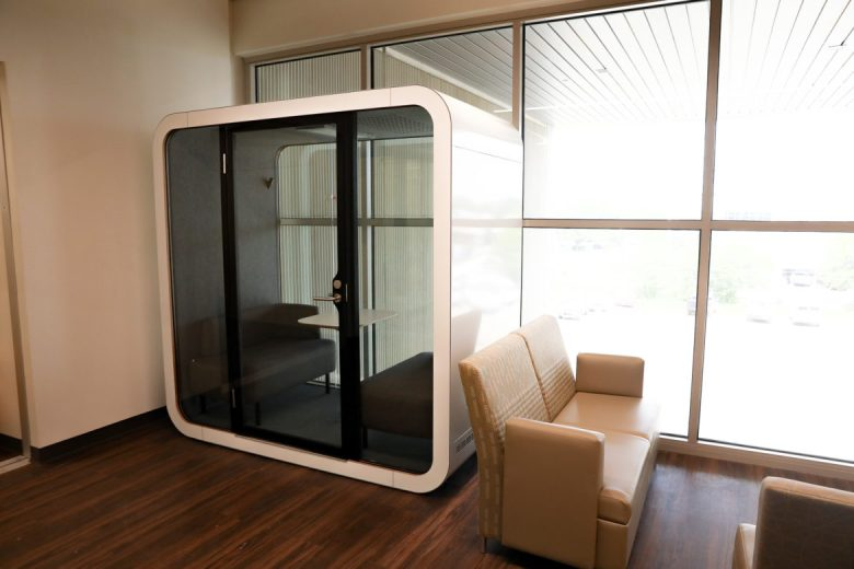 Private pods are used for personal phone calls and work.