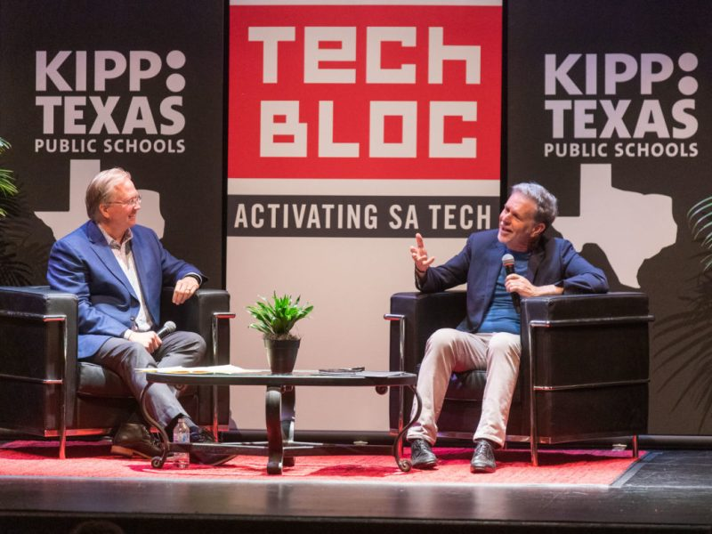 (left) Graham Weston speaks with Netflix Founder and CEO Reed Hastings during a Tech Bloc event in partnership with KIPP: Texas.