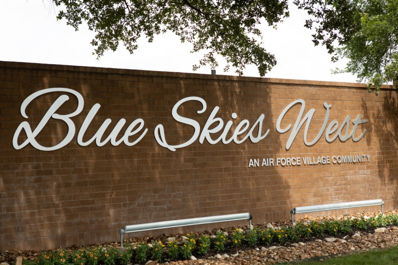 The entryway to Blue Skies West, an Air Force village community.