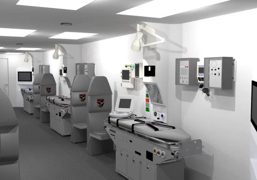 This rendering shows the interior of a modular emergency room that is loaded onto aircraft.